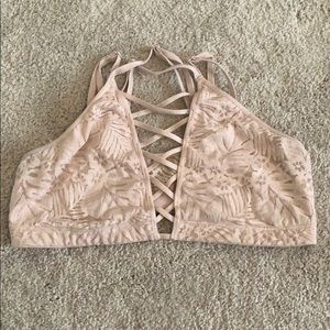 pink lace up high neck bralette